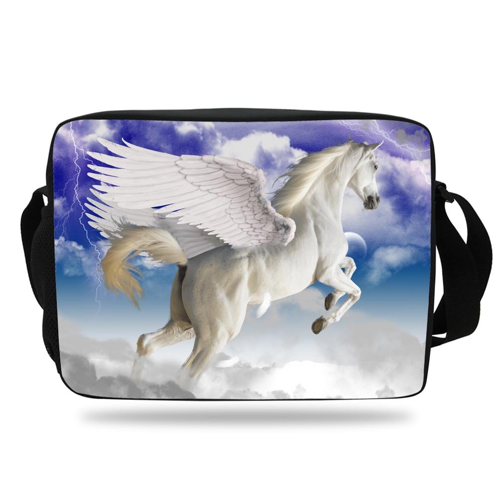 ab1379db1173 Animal prints Unicorn Pegasus Messenger Bag For Girls Crossbody School Bag  Purple High School Boys and Women Teenagers-in Crossbody Bags from Luggage    Bags ...