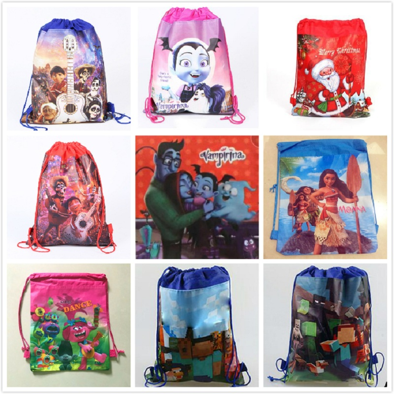1/2pcs Minecraft Coco Vampirina Drawstring Bag Gift Bag Non-woven Drawstring Bags School Swimming Backpack Action Figure Toys