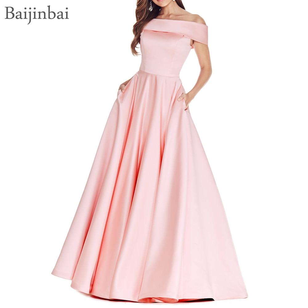 Baijinbai Vestido De Festa A line Long Prom Evening Dress Simple Off The Shoulder Formal Pageant
