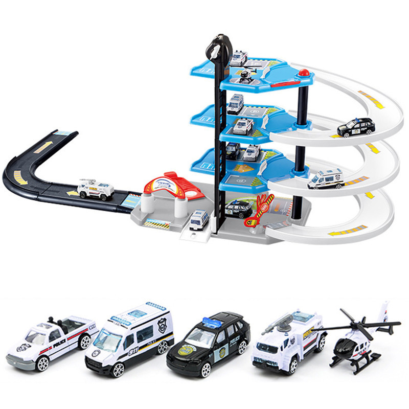 DIY Track Car Racing Orbit 3D Model Assembling Firetruck Parking Building Blocks Toys Gift
