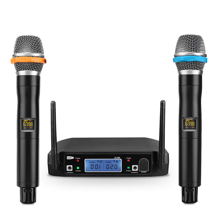 Pro Wireless UHF 2 Channel Microphone System Digital Dual Receiver with UHF Receiver LCD Display Handheld Microphones boya by whm8 professional 48 uhf microphone dual channels wireless handheld mic system lcd display for karaoke party liveshow
