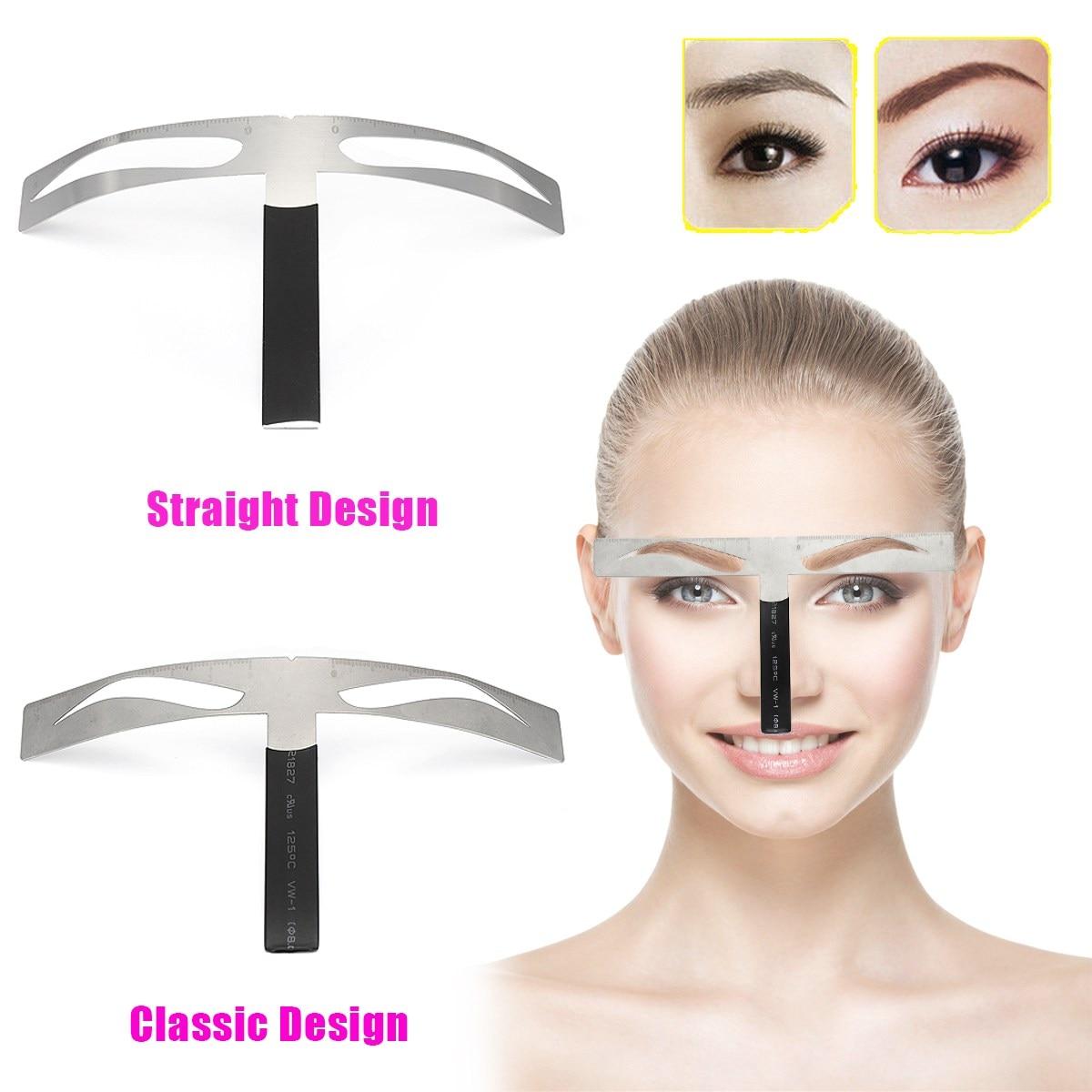 Microblading Eyebrow Balance Ruler Metal Tattoo Shaping Stencil Permanent Makeup Caliper Measure Definition Grooming Tool 2018