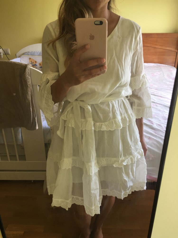 Elegant Layered Ruffle Women Summer Dress Casual Embroidery Cotton White Dress Female V Neck Loose Short Dresses Ladies photo review