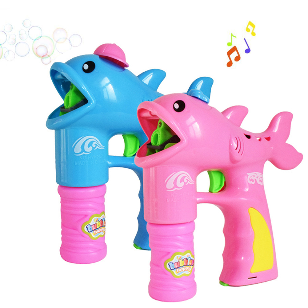 Cute Dolphin Shape Gun Bubble Blower with 2 Bubble Solution s