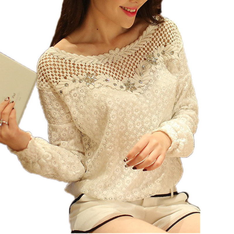 Top Mall Cloths Plus Size S-5XL New Fashion 2017 Female Hollow Out Blusas Women's Long Sleeve Lace Crochet Floral Tops Blouse Feminine Shirts
