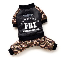 2017 Pet Small Dog Cat Outfit Puppy Winter Boy Clothes FBI Coat with Camouflage Pants Jumpsuit Four-leg Jacket Costume