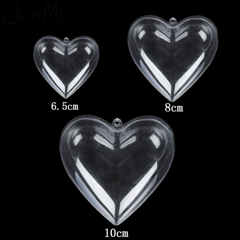 10Pcs/Lot Clear Candy Ball Box Plastic Heart Ornament Gift For Christmas Wedding Party Decor 3 Size Choose