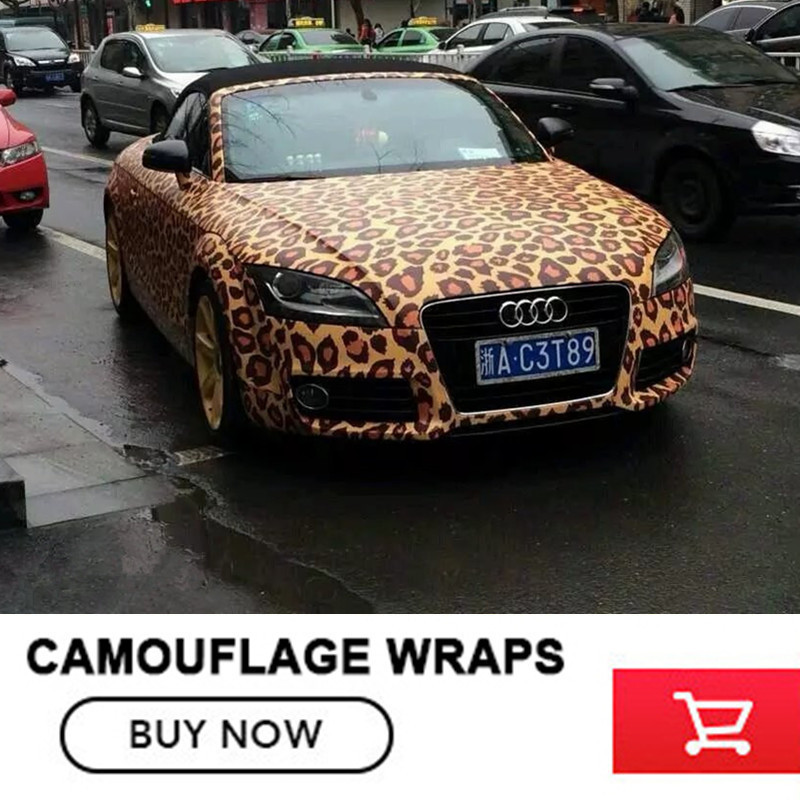Leopard Camo Car Wrap Sticker Bomb Vinyl Leopard Camouflage Vinyl Sticker camouflage custom car sticker bomb camo vinyl wrap car wrap with air release bomb sticker car body sticker motorcycle sticker