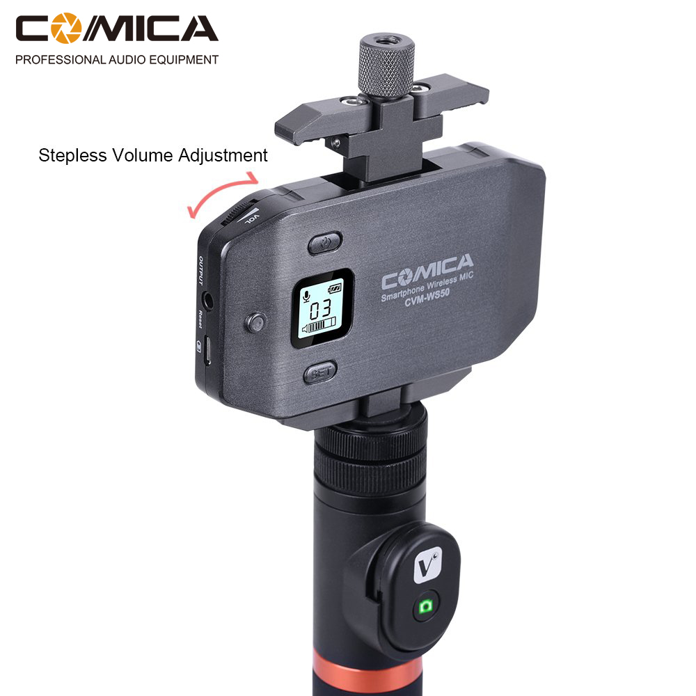 Comica CVM WS50 A UHF 6 Channels Wireless Phone Lavalier Microphone System For Smartphone DSLR Camera in Microphones from Consumer Electronics