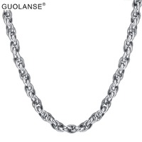 High Quality Rope Link Stainless Steel Necklace Silver Color Chain Link Punk Rock Long Sweater Necklaces Men Jewelry Wholesale