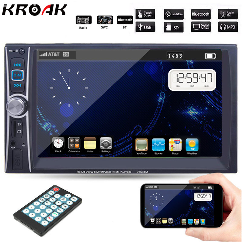 6.6'' HD 2 Din Car Radio MP5 Player Touch Screen Bluetooth Stereo Radio Player MP3/MP4/Audio/Video/USB 7 hd 2din car stereo bluetooth mp5 player gps navigation support tf usb aux fm radio rearview camera fm radio usb tf aux