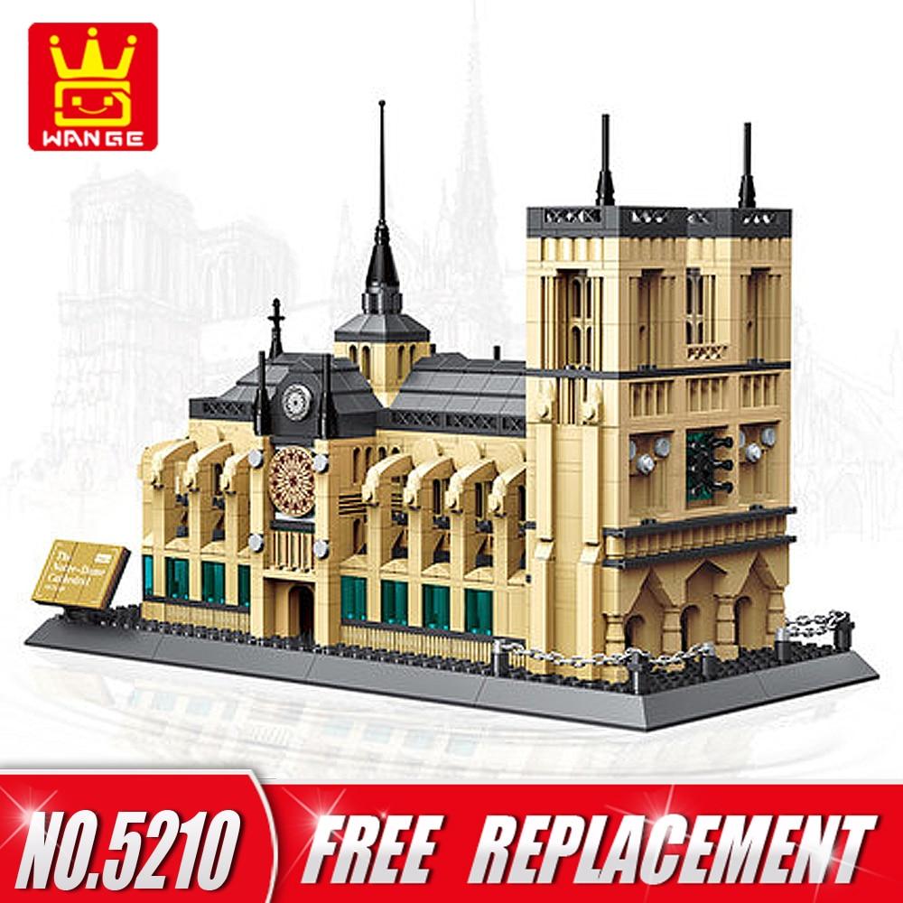 WANGE World Famous Architecture Notre Dame Cathedral of Paris Building Blocks 1380pcs Bricks DIY Educational Kids Toys NO.5210