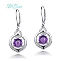 L Zuan Luxury Jewelry For Women 3 9ct Natural Amethyst Earrings 100 925 Sterling Silver Cluster