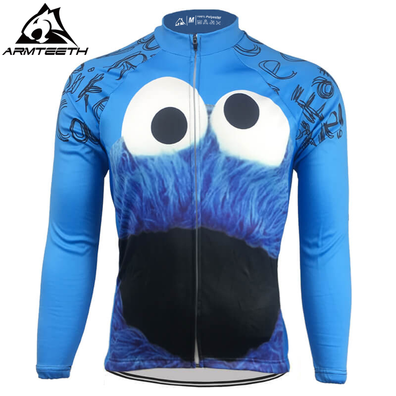 Hot Sale Men Long Sleeve Cycling Jersey Winter Thermal Fleece Bicycle Clothing Quick Dry Breathable Cookie Monster Jerseys