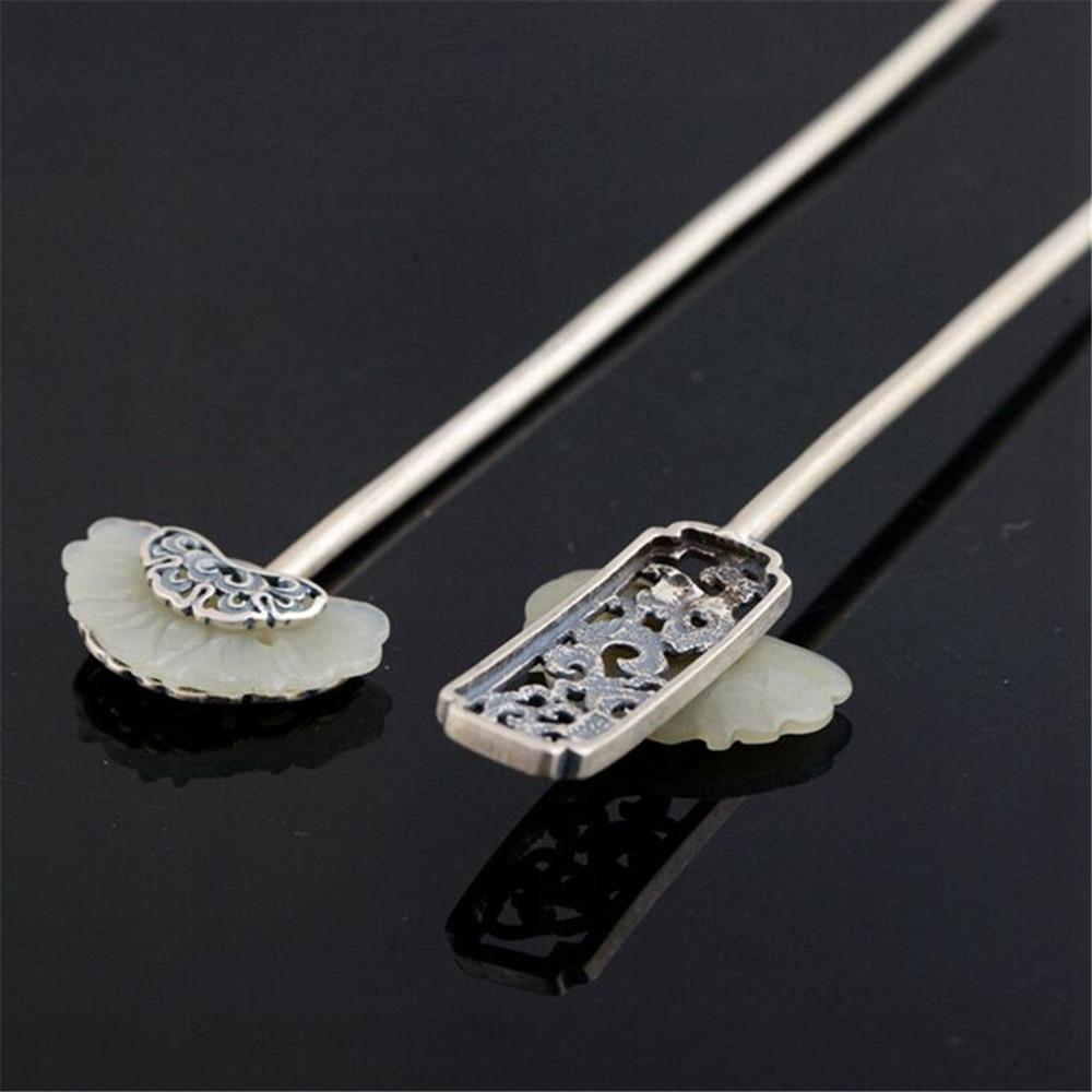 He Tian White Jade Hair Sticks 925 Sterling Silver Hair