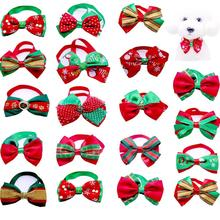 a dog for christmas 20pcs/lot  Christmas Small Dog Bow Ties Cat Dog Bowties Collar for Christmas Festival Dog Ties Dog Grooming Accessories