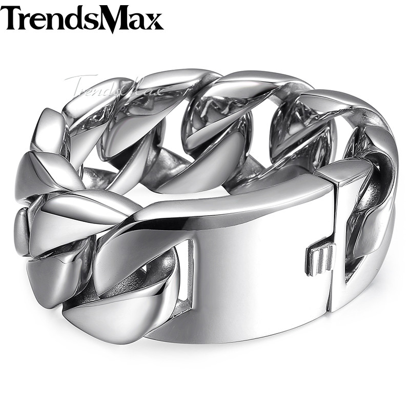 Trendsmax Fashion New Link Chain Stainless Steel Bracelet Men Heavy Mens Bracelets 2018 Bicycle Chain Wrstband 24/31mm HBM24 trendsmax cool stainless steel dragon grain bracelets men punk rock keel mens bracelets