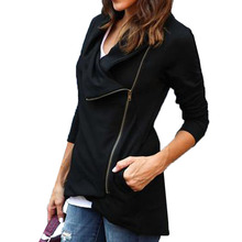 2017 Fashion Women Waterfall Long Sleeve Zipper Outerwear Autumn Asymmetrical Hem Casual Slim Basic Solid Cardigan Jacket Coat