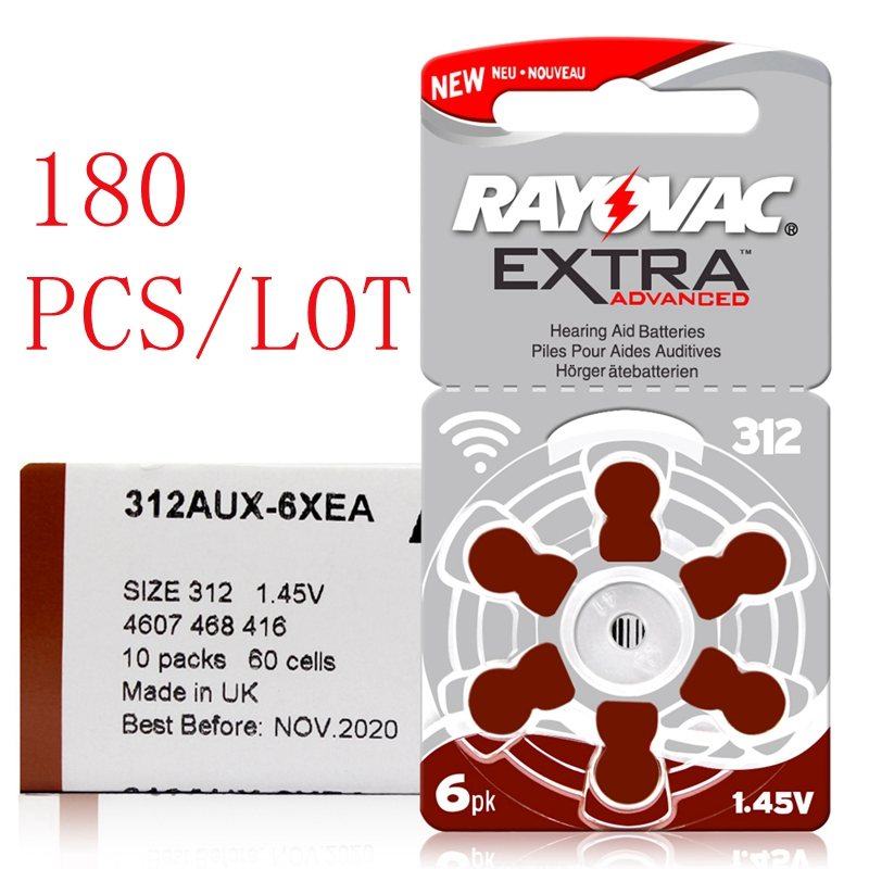 24 Pcs Rayovac Extra Zinc Air Hearing Aid Batteries A312 312A ZA312 312 PR41 Hearing Aid Battery A312 For Hearing Aid