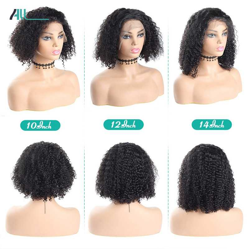 Allove кудрявый парик с волосами младенца короткий боб парики для черных женщин кружева передние человеческие волосы парики предварительно сорвал Бесплатная доставка