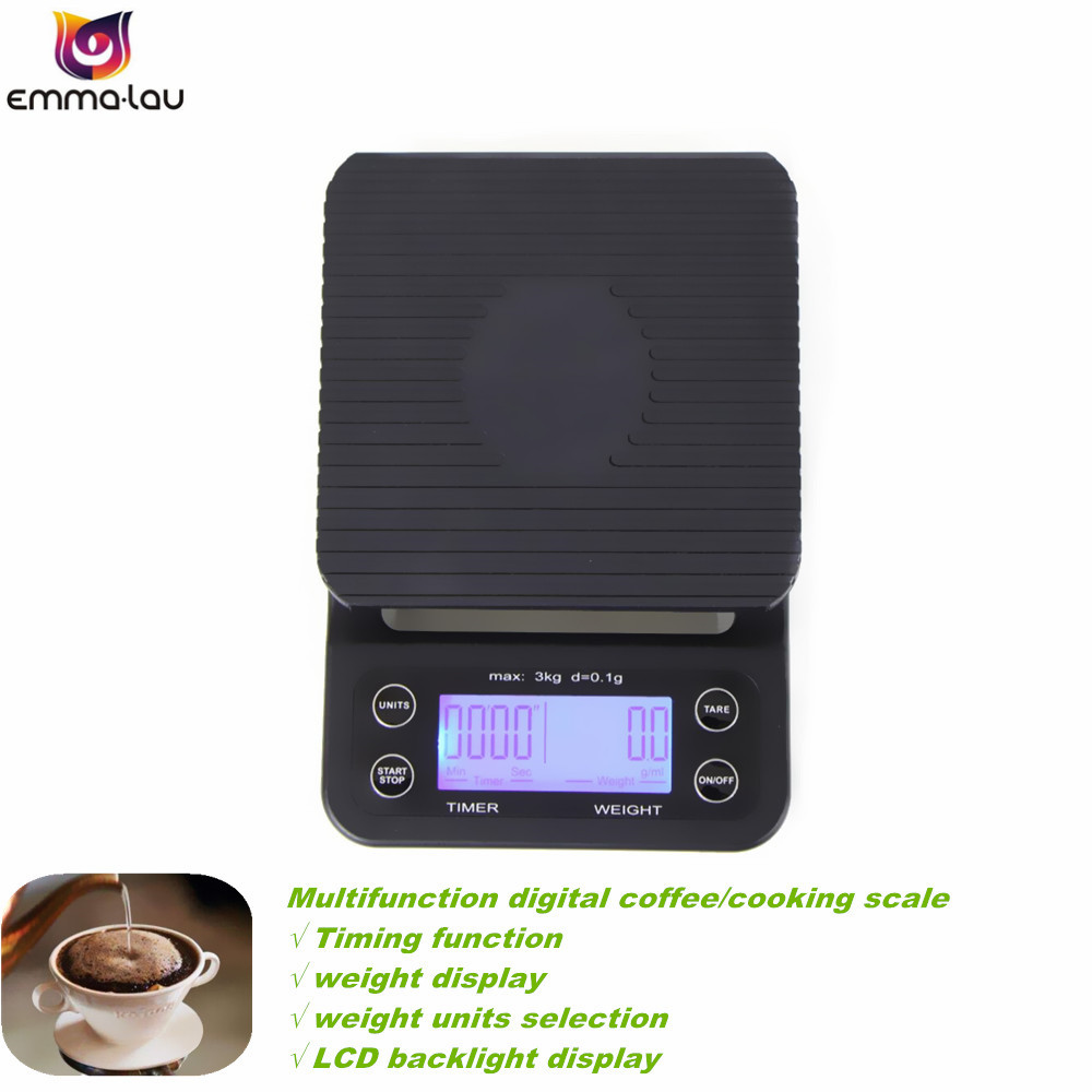 High Precision Portable 3kg 0.1g Drip Coffee Scale With Timer Mini Electronic Digital Kitchen Cooking Scales LCD Backlight portable 1 7 lcd digital kitchen timer green white black