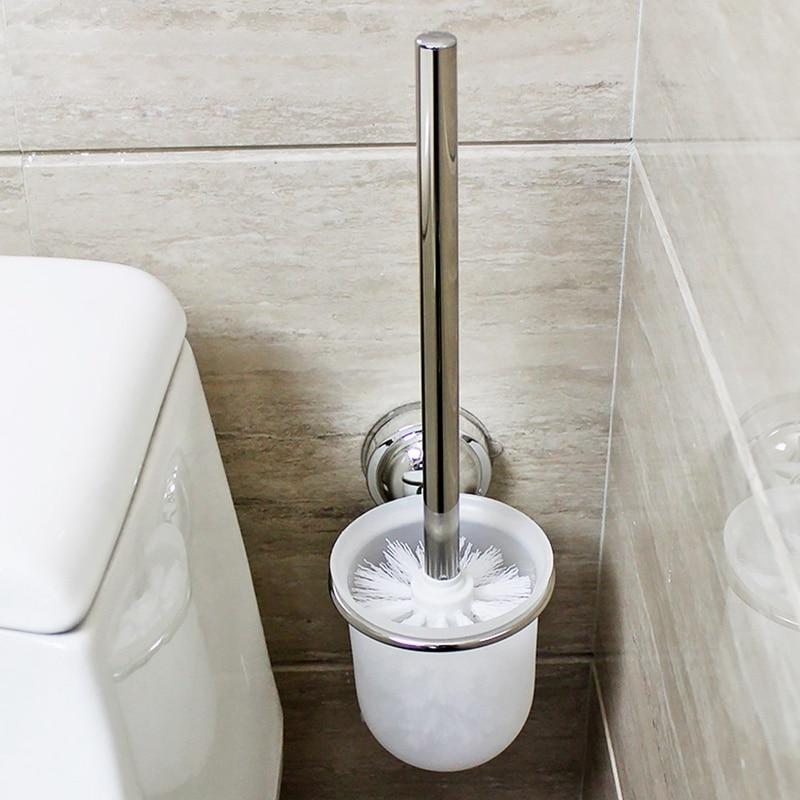 Toilet Brush With Toilet Brush Holder Wall Mounted Chrome