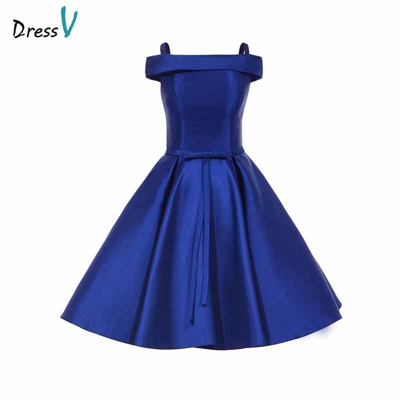 Dressv Off The Shoulder Royal Blue Homecoming Dress Draped Knee Length Zipper Up Graduation Party Formal Homecoming Dresses