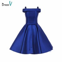 Dressv Off The Shoulder Royal Blue Homecoming Dress Draped Knee Length Zipper Up Graduation Party Formal Homecoming Dresses