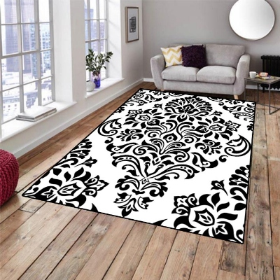 Else Black White Damask Ottoman Turkish Design 3d Print Non Slip Microfiber Living Room Decorative Modern Washable Area Rug Mat