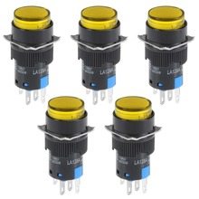 UXCELL 5Pcs 16mm Momentary Push Button Switch Yellow LED Light Round 1 NO NC 24V Accessories Electrical