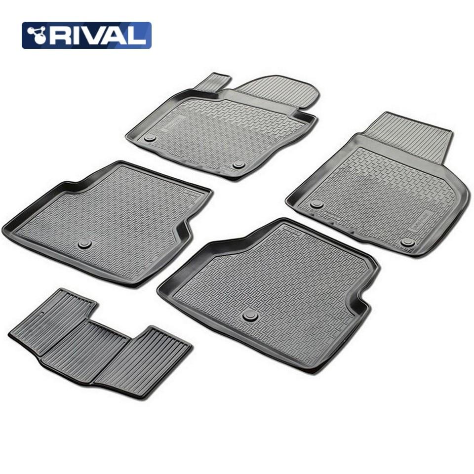 цена на For Volkswagen Tiguan I 2011-2016 floor mats into saloon 5 pcs/set Rival 15805001