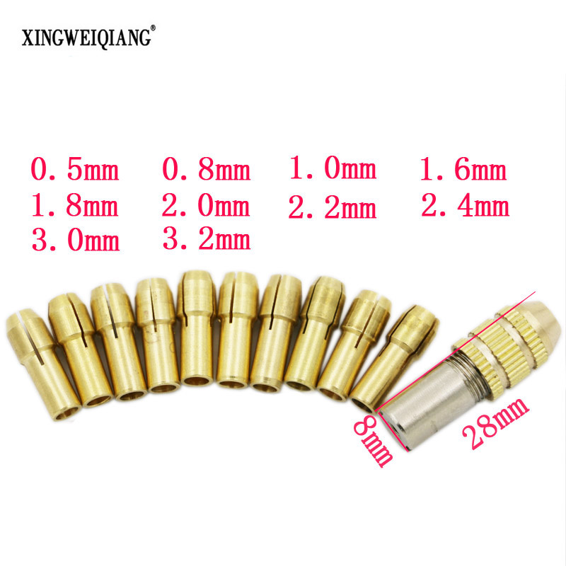 цена на High Quality Best Price 10pcs/Set 0.5-3.2mm Small Electric Drill Bit Collet Micro Twist Drill Chuck Set