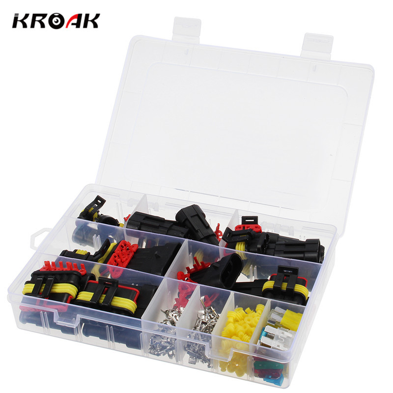 KROAK 10 Kits Car 4 Pin Way Sealed Waterproof Connector 1.5mm Electrical Wire Terminal Socket Plug AUTO 10 sets car 1 pin way sealed waterproof electrical wire connector plug set for motorcyle car boat