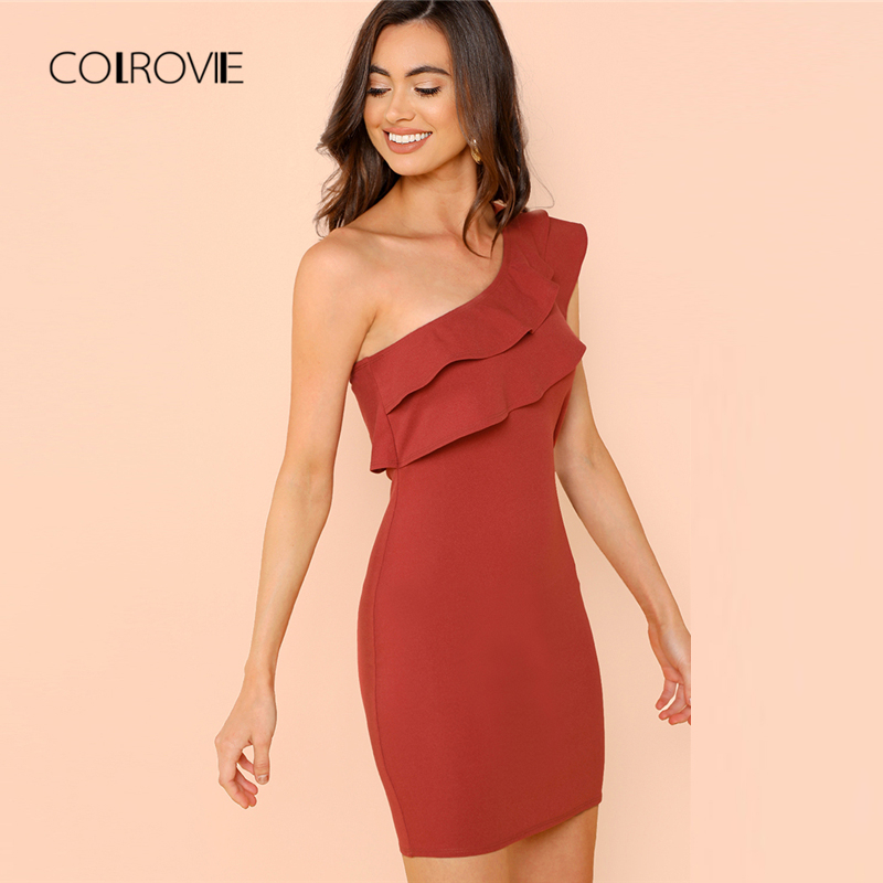 573a00871e0 Detail Feedback Questions about COLROVIE Rust Sexy One Shoulder Form  Fitting Tiered Ruffle Short Party Dress Women 2018 Autumn Solid Bodycon  Dress Summer ...
