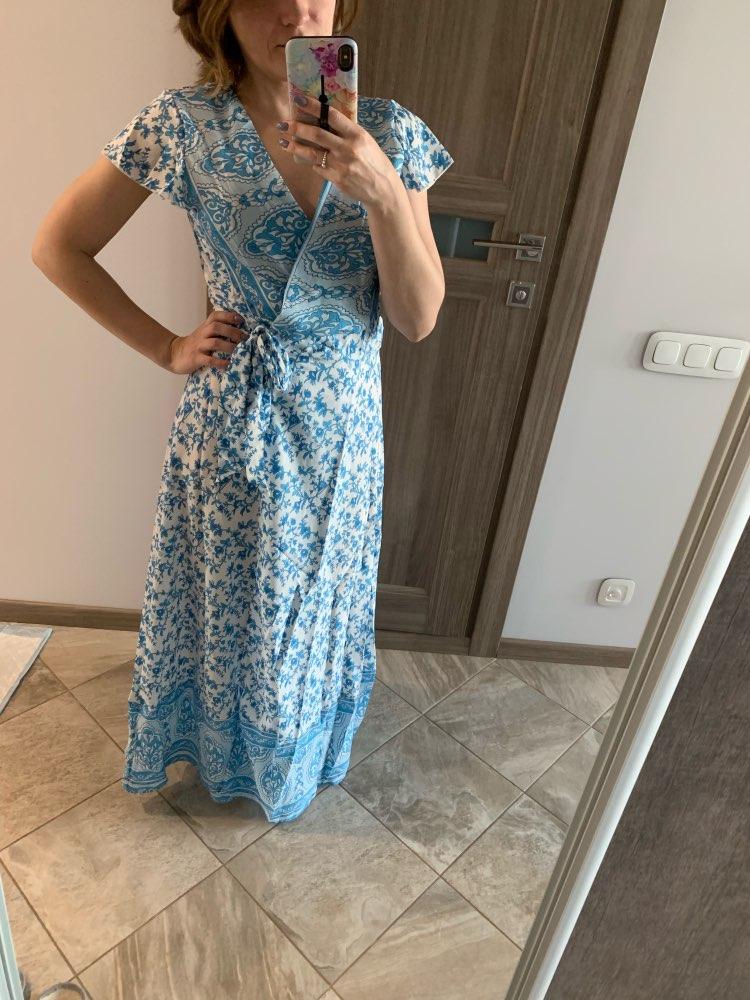 Summer Dress Indie Folk Women Sexy Printed Bow Holiday Beach Wrap Dresses V Neck Boho Dress Elegant Party Sundress photo review