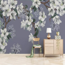 Hand-painted flowers and birds background wall professional production murals, wallpaper wholesale, custom poster photo