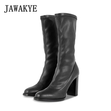 Black Elastic Mid Calf Boots Women Round Toe Chunky High Heels Winter Shoes Sexy Genuine leather Slim Martin Boots botas largas