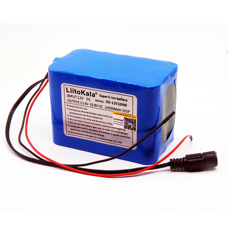 HK LiitoKala 100% New Protection Large Capacity 12 V 10Ah 18650 Lithium Rechargeable Battery Pack 12v 10000 MAh Capacity
