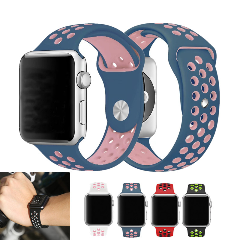 For Apple Watch Sport Band Silicone Bracelet 42mm Series 3 Watchband Series 2 /1 Replacement Strap for iWatch Bands Nike Sports wristband silicone bands for apple watch 42mm sport strap replacement for iwatch band 38mm classic stainless steel buckle clock