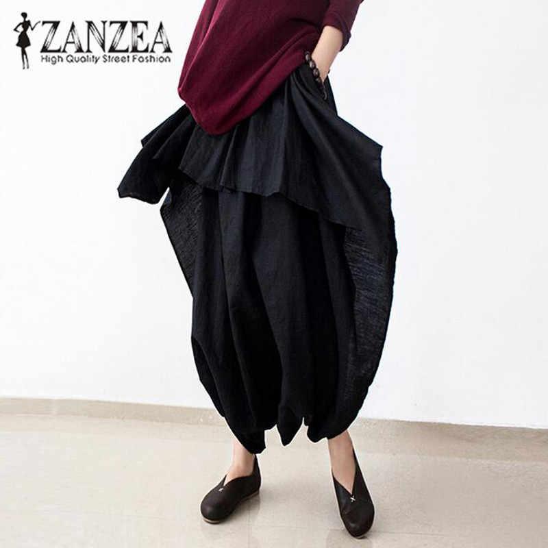 4208dd2420910 ZANZEA Women Cotton Elastic Waist Baggy Harem Capris Pants Low Crotch Loose  Solid Long Trousers Linen