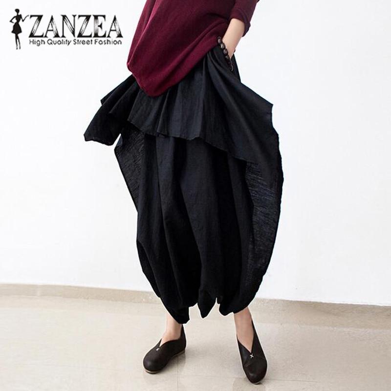 ZANZEA Women Cotton Elastic Waist Baggy Harem   Capris     Pants   Low Crotch Loose Solid Long Trousers Linen Flouncing Pantalon 2018