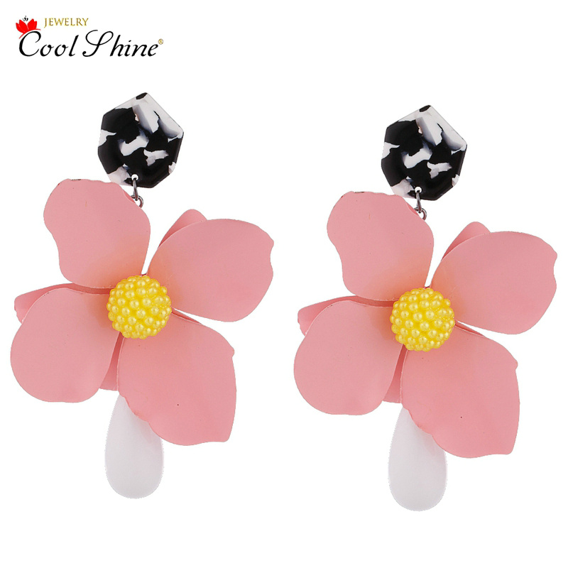 Pendientes mujer moda 2018 Charm Flower Cheap Wholesale Statement Earrings Bohemian Summer Jewelry New Pinky Color Cute Earrings