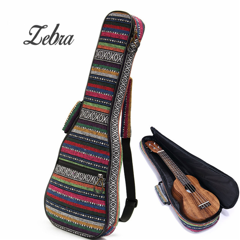 Zebra 21/23/26 Inch Cotton Nylon Padded Portable Bass Guitar Gig Bag Ukulele Case Box Guitarra Cover Backpack With Double Strap 21 soprano ukulele ukulele gig bag case 600d water resistant nylon hand strap 20 12