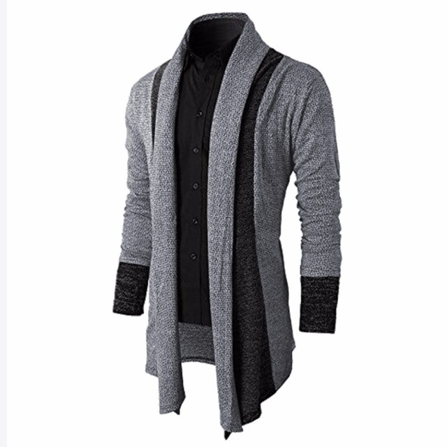 2017 Brand Knitted Cardigans Sweater Men Shawl Collar Long Sleeve ...