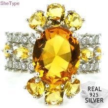 SheType 5.6g Golden Citrine White CZ Womans Party 925 Solid Sterling Silver Ring 23x21mm