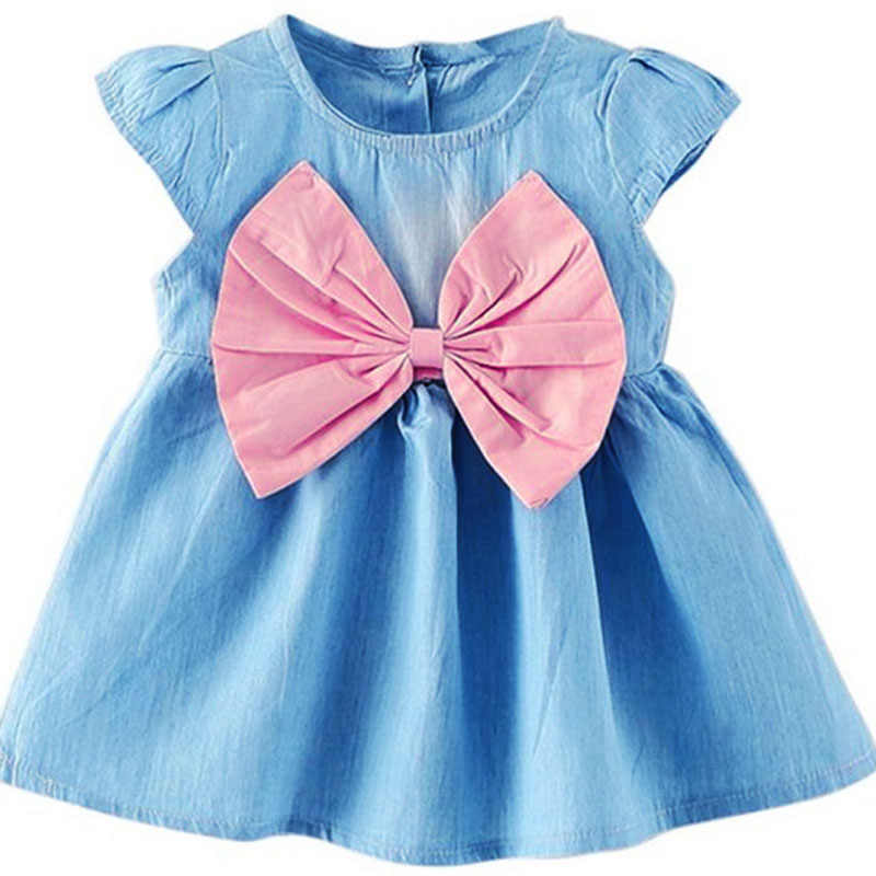 2017 New Cute Baby Summer Fashion Bow Cowboy Sweet Elegant Little Girl Beautiful Princess A-line Linen Above Knee, Mini