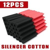 12Pcs Set Universal 25x25x5cm Wedge Black Red Acoustic Soundproofing Studio Foam Tiles Household Silencer Cotton Sealing