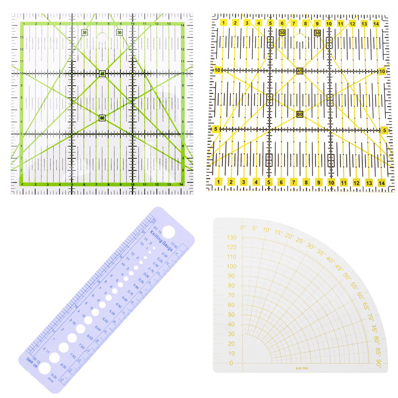 1PC Patchwork Ruler Square Fan Shape Tailor Yardstick Cloth Cutting Rulers Sewing Arts Craft DIY Sewing Tools