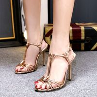 Golden T narrow band sandals stiletto gladiators peep toes thin high heeled wedding party shoes women's sandals Designeer silver