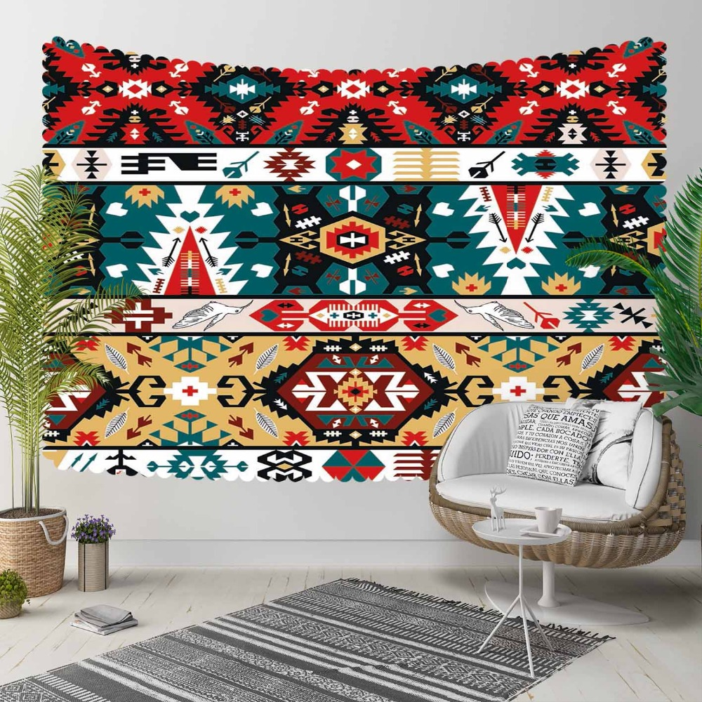 Else Red Green Brown Ethnic Turkish Kilim 3D Pattern Print Decorative Hippi Bohemian Wall Hanging Landscape Tapestry Wall Art